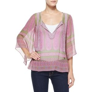 Calypso St Barth Entisse Sheer Silk Boho Top